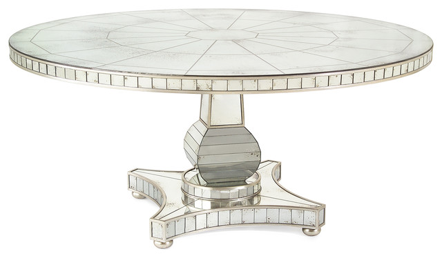 Mirror Silver Round Dining Table Transitional Dining Tables By