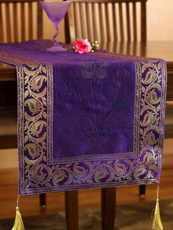 """Elegant Table Runners - Luxurious """"Hand Painted"""" table runner. Plum Purple color. Decorative Indian design."""