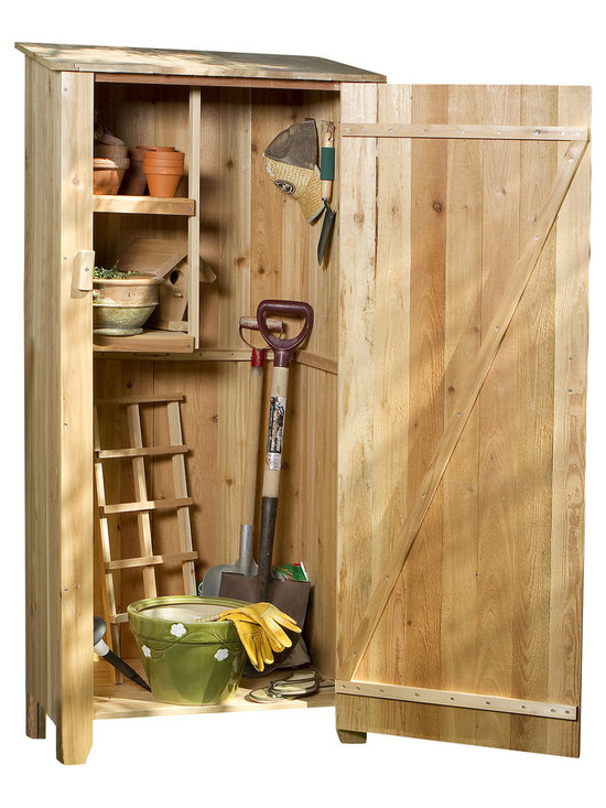 All Things Cedar - Cedar Storage Hutch - Storage Shed - An attractive and practical Storage solution for many uses including sandy beach toys, pool supplies, BBQ tools, sporting gear, even recycling bins. Our 100% Cedar Hutch will keep your outdoor tools and supplies organized and readily accessable place.  : Dimensions: 34w x 23d x 73h --- twin shelves: 12w x 14d --- door opening: 28w x 65h (unassembled kit)