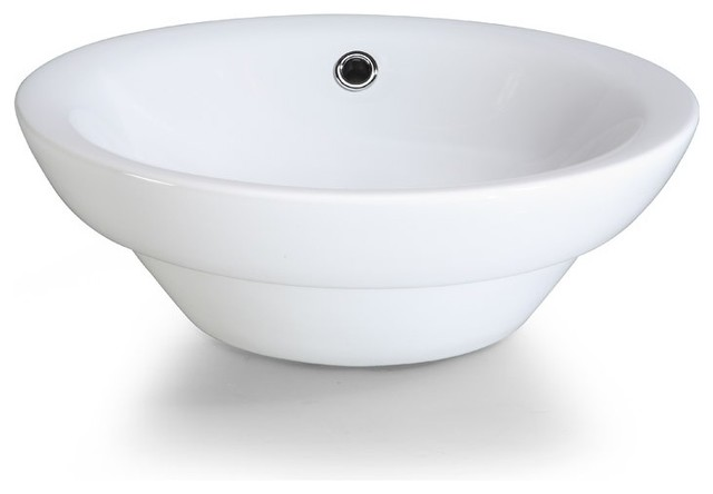 Xylem-CSR169RD Semi-Recessed Round Vitreous China Vessel Sink in White traditional bathroom sinks