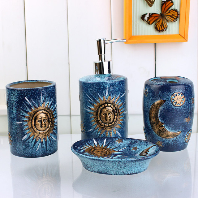 4 Piece Golden Sun And Moon Pattern Blue Ceramic Bath Accessory Sets Modern Bathroom