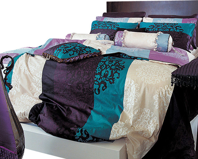 turquoise purple black damask queen duvet cover set