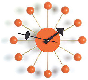 Vitra Nelson Ball Clock Orange modern clocks