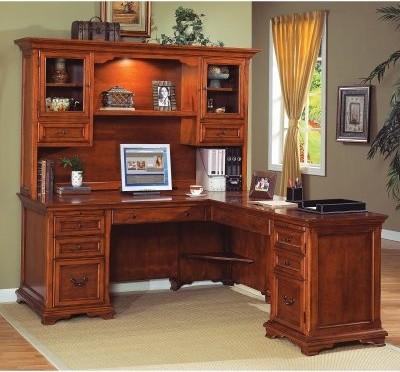 Martin Charlotte L-Shaped Desk and Hutch by Kathy Ireland -Warm Cherry modern-desks-and-hutches