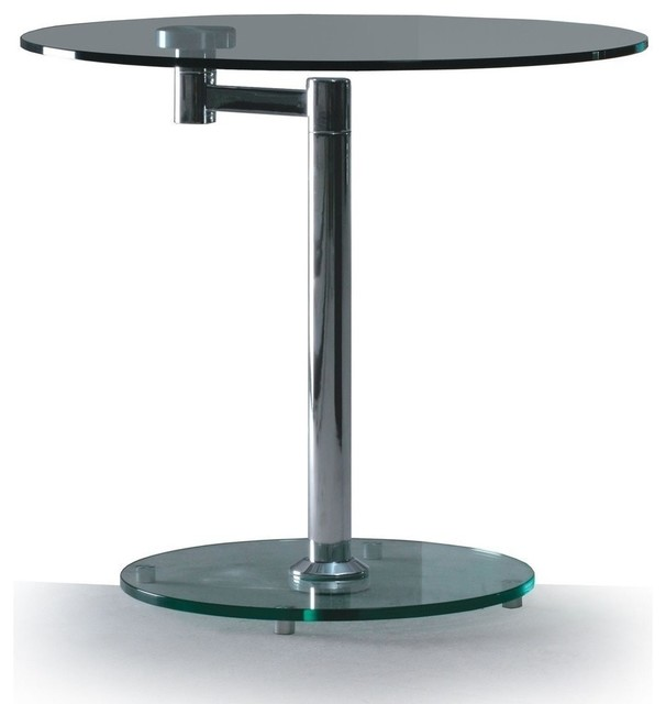 Modern Round Glass And Chrome Coffee Table: Modern Glass And Chrome Round Swivel Side Table Anzio