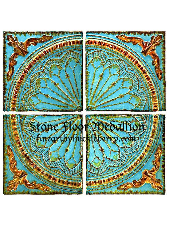 Floor Medallion Stone tiles Aqua -