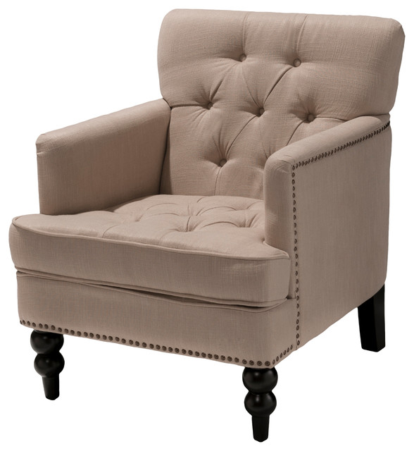 Medford Beige Fabric Club Chair traditional-accent-chairs