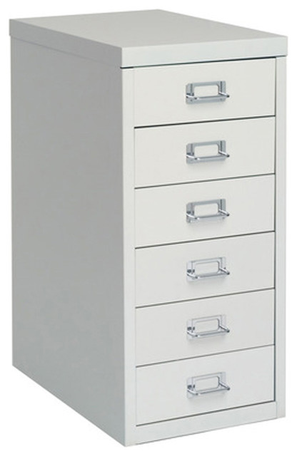 Bisley 6-Drawer Under Desk Multi-Drawer Cabinet in Light Gray Steel - Traditional - Filing ...