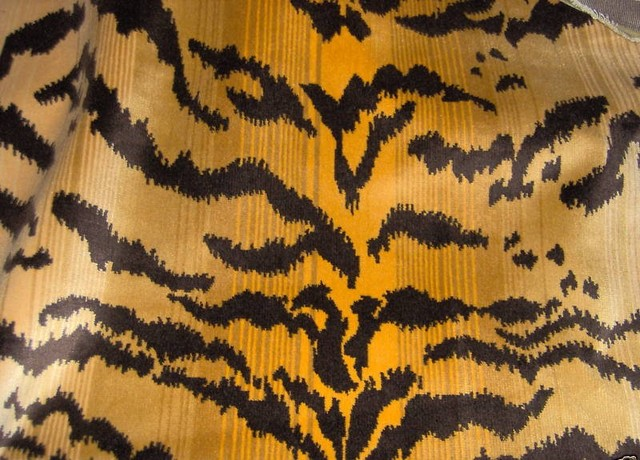 "Scalamandre ""Le Tigre"" Silk Cut Velvet Fabric Remnant traditional-fabric"