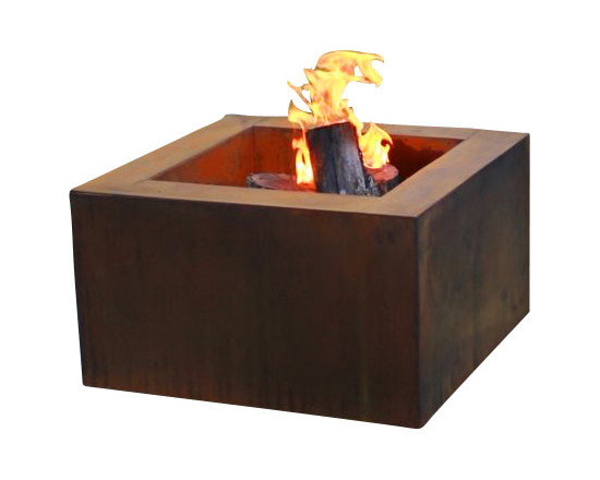 "Home Infatuation - Mini-Square Weathering Steel Fire Pit, Mini Pit for Glass & Lava Rock/Propane Ga - This handcrafted outdoor fire pit is constructed entirely of 11 gauge Cor-Ten steel. Commonly called ""weathering steel"" it will develop a beautifully brown layer of rust when exposed to the weather."