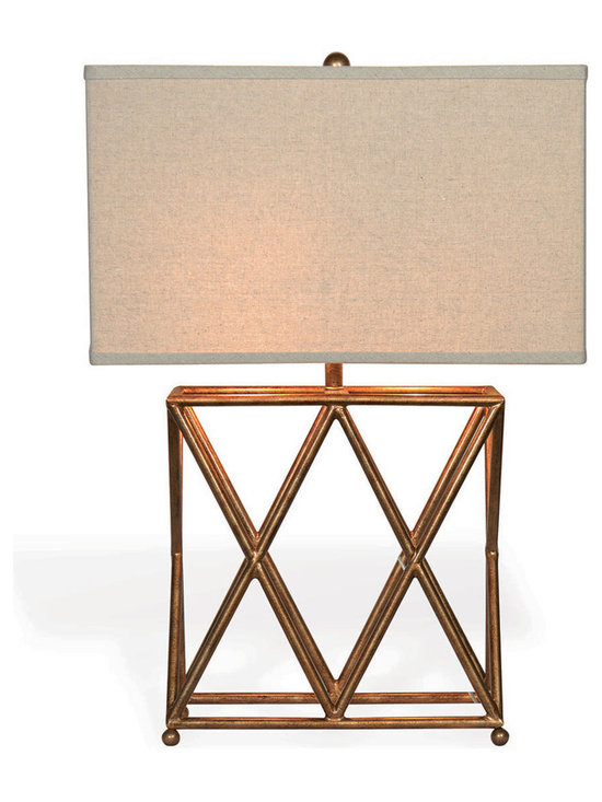 """Kathy Kuo Home - Crossings Contemporary French Gold Open """"X"""" Frame Table Lamp - Inspired by a flea market antique, we love the clean lines of the X base of the Crossings Lamp."""