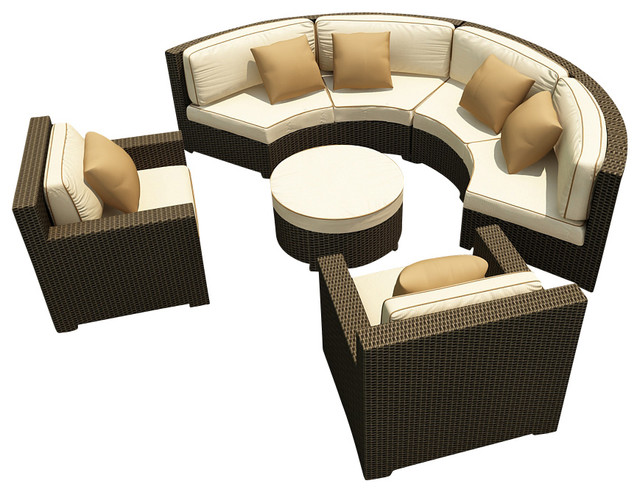 Hampton Radius 5 Piece Sectional Set, Chocolate Wicker and Beige Cushions contemporary-patio-furniture-and-outdoor-furniture
