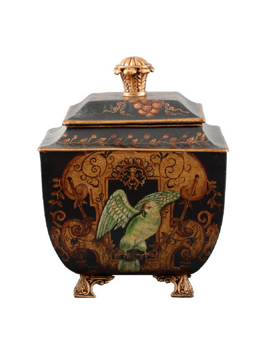 Oriental Danny - Hand painted toile box - This boldly painted box can be an elegant storage solution for your home. Featuring a majestic eagle on the front and ornately carved handle and feet, the aluminum tin is anything but ordinary.