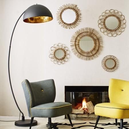 the arc black gold metal floor lamp contemporary floor lamps. Black Bedroom Furniture Sets. Home Design Ideas