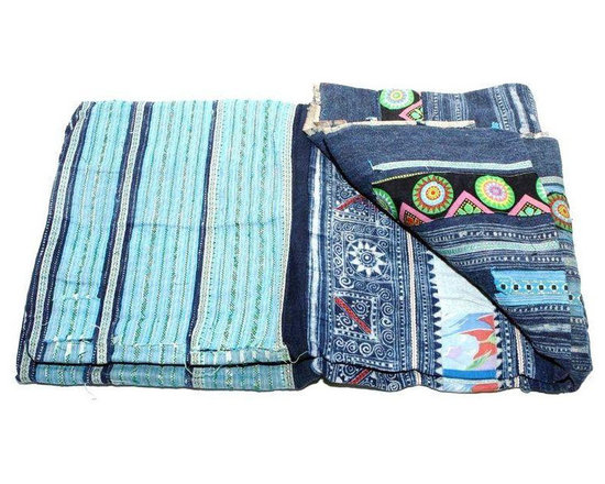 Shades Of Blue Hmong Blanket -