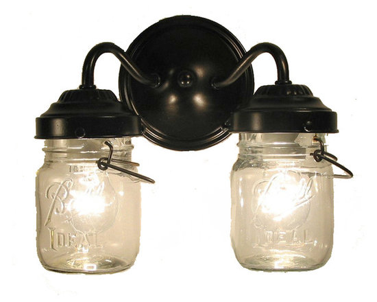 n/a - Vintage Clear Canning Jar Double Sconce Light, Oil Rubbed Bronze - The beautiful glow of the light through a pair of vintage clear pint canning jar from days gone by is wonderful. This sconce is so fun with its original bail wires and the raised designs. Each jar carries its own history and can vary in 'age' marks, brand, graphics and more.
