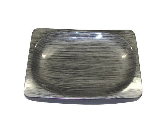 Belle & June - Brushstrokes Silver/Black Oval Soap Dish - If you have a modern, contemporary bath, you need modern, contemporary bath accents. This soap dish will be a stunning addition and you may think it's too gorgeous to get wet. Not to worry. The layers of lacquer protect it from water and heat.