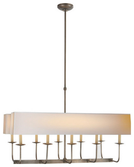 Linear Chandelier With Shade Tt Linear Branched 10 Light