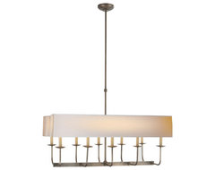 TT Linear Branched 10-Light Chandelier With Dual Linear Shade contemporary-chandeliers