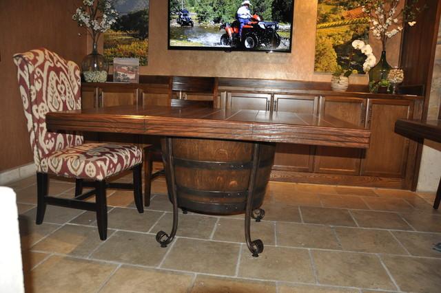 Wine barrel dining room table - Mediterranean - Dining Tables - santa barbara - by Arvizu ...