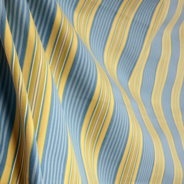 Cyclamen Waterway Blue Yellow Green Stripe Fabric