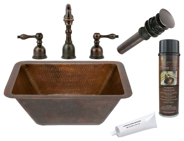 Rectangle Hammered Copper Sink W Orb Faucet Rustic Bathroom Sinks Other Metro By Lucido