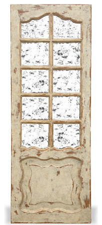 Old World Mirror Door Madrid Weathered Grey Washed Over W Brown Stain And Gold Mediterranean