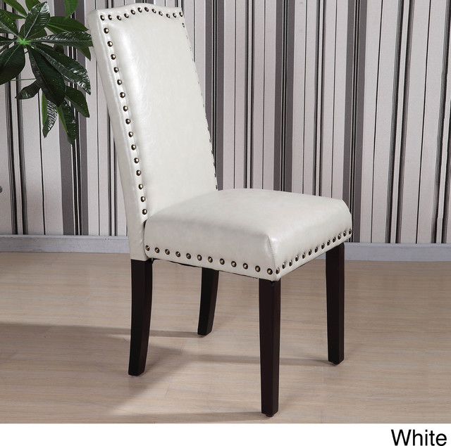Royal comfort collection classic faux leather nailhead for Leather parsons dining chair