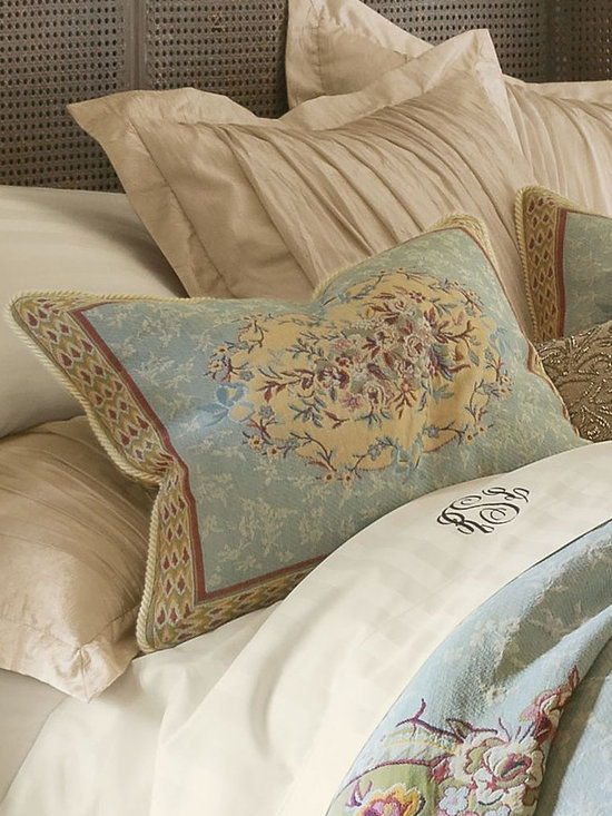Regency Tapestry Bed Sham - Dress your bed in regal splendor. Recalling the lavish beauty of Italian renaissance textiles, our stunning tapestry collection centers a floral medallion on a sky blue ground sprinkled with flowers and framed with Florentine scrolls. Rendered in opulent shades of blue, gold, chartreuse and blush, this work of art for the bed is exquisitely crafted of pure cotton in the traditional Flemish style of weaving. The coordinating sham is edged with braided cording and has a hidden zip closure.