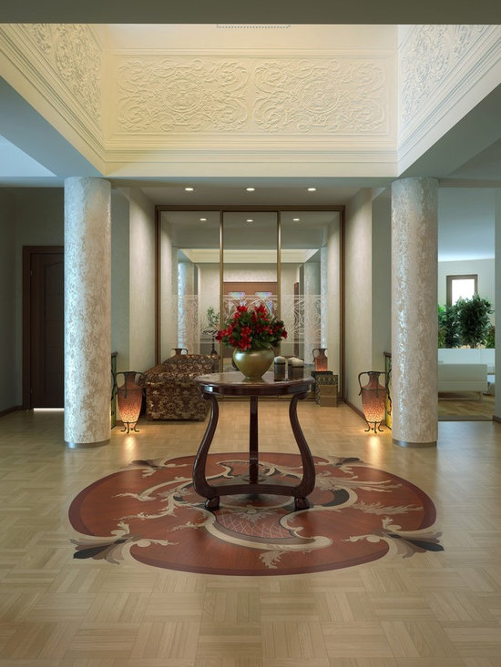 Custom wood inlay in Grand Foyer - Union Block parquet with wood floor medallion