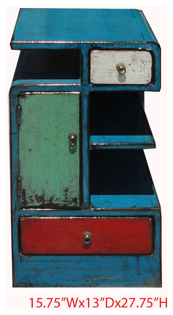 Unique Chinese Antique Colorful Lacquer Nightstand End Table Cabinet modern-side-tables-and-end-tables