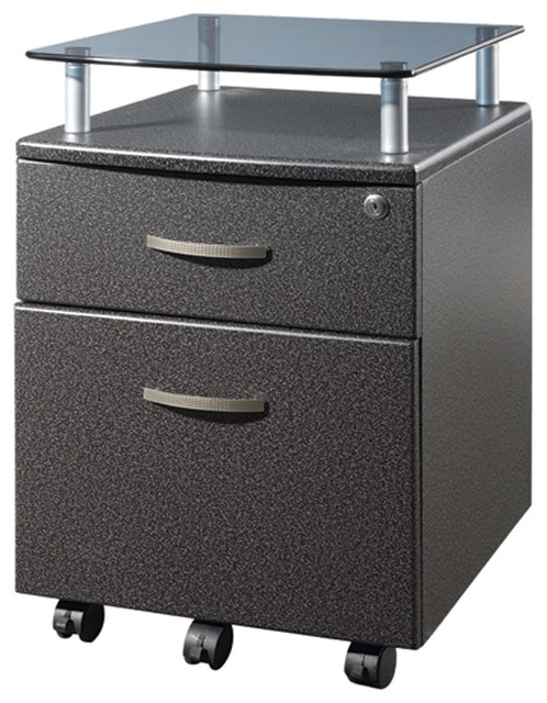 Techni Mobili Rolling Glass Top File Cabinet in Graphite - Contemporary - Filing Cabinets - by ...