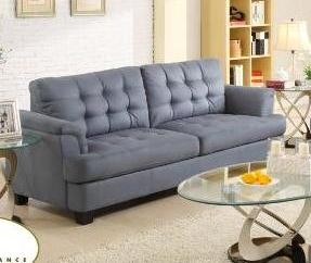St Charles Grey Blue Tufted Fabric Sofa Contemporary