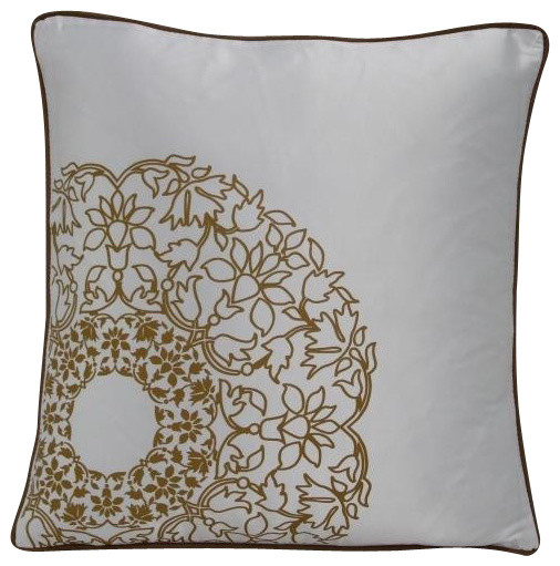 Modrest Transitional White and Gold Print Throw Pillow, White contemporary-decorative-pillows