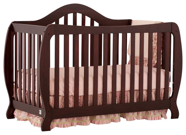 Stork Craft Monza 2 In 1 Fixed Side Convertible Crib In Cherry Transitional Cribs