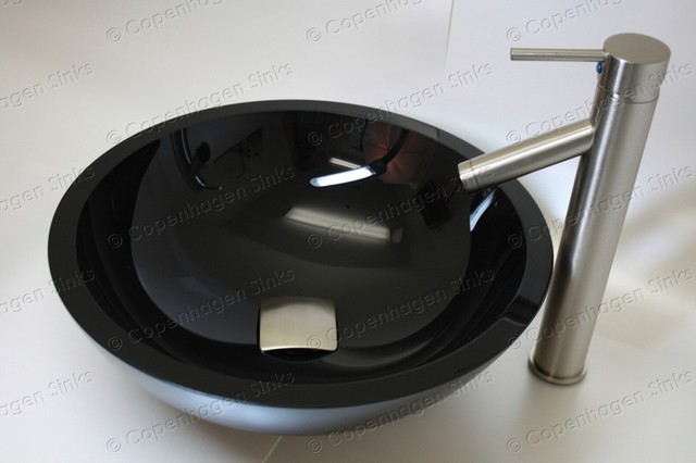 17 inch Diameter Black Bathroom Glass Vessel Bowl Sink ...