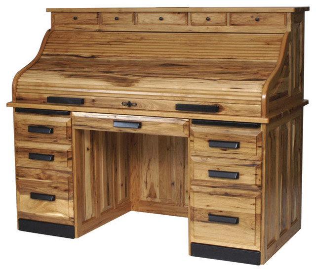 Holmes Office Collection Rolltop Desk With Optional Drawers Craftsman Desks And Hutches