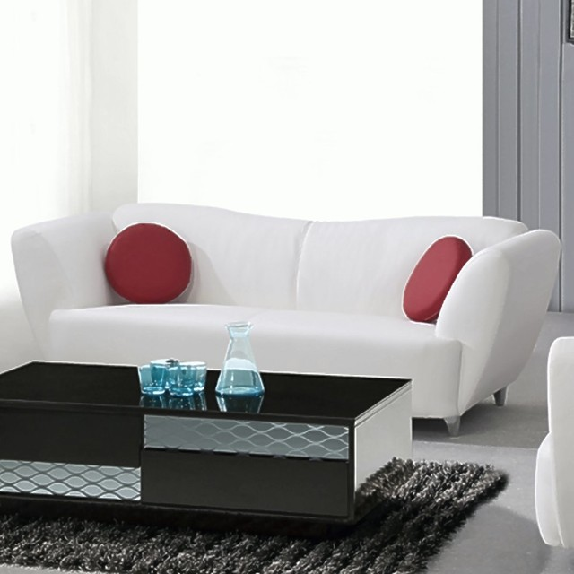 Sofa Pillows Contemporary: Dalton Contemporary Sofa With Red Round Pillows