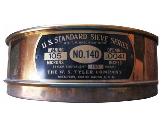 U S Standard Brass Sieve - From the S. Tyler CO. Mentor Ohio  this is NO> 140 150 Mesh  . This is a very interesting piece, you can use it to serve any dry snacks and it will  certainly be a conversation piece.
