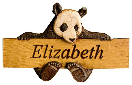 Childrens Room Personalized Plaque With Panda Bear contemporary kids decor