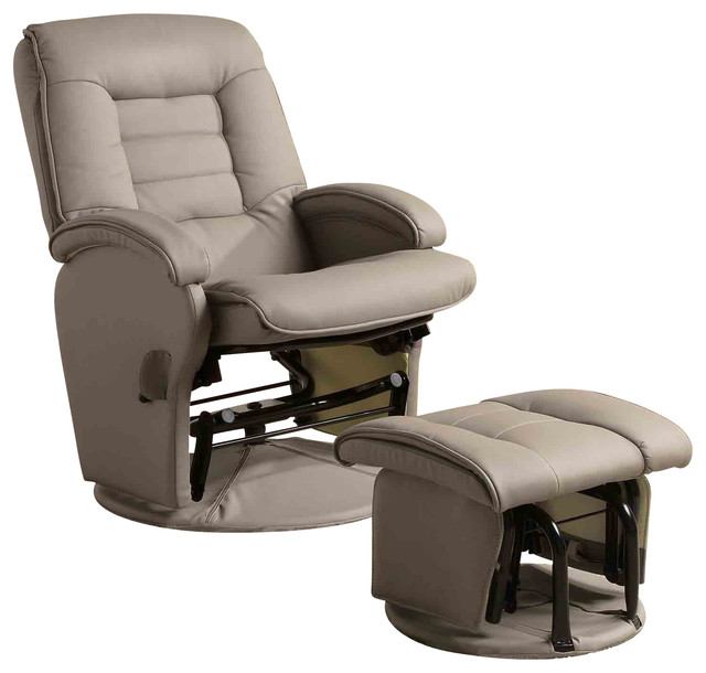 Recliners With Ottomans Leather Like Vinyl Glider With