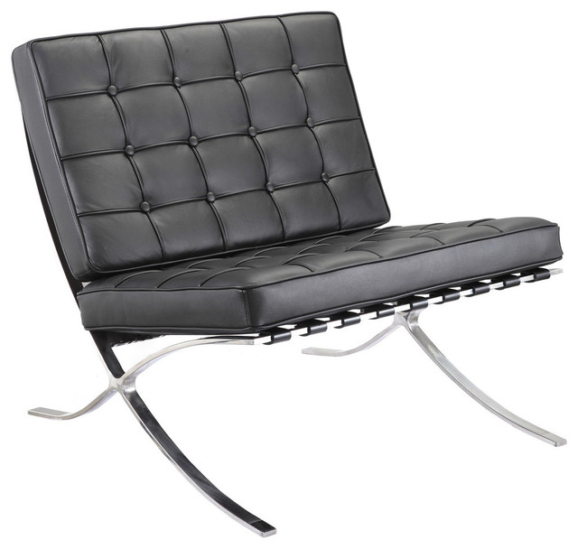 M331 Barcelona Lounge Chair in Black Leather Contemporary Armchairs And A