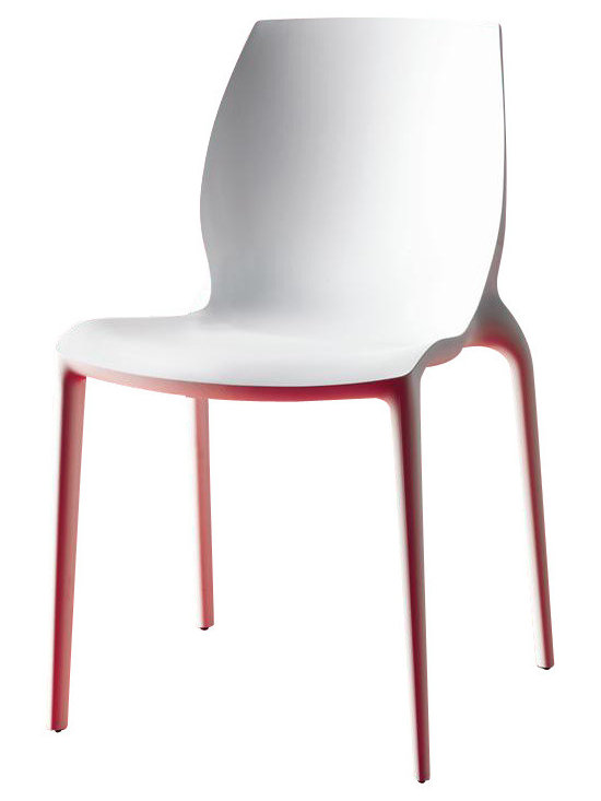 Bontempi Casa - Hidra White Stackable Modern Chairs - Set of 2 - Frame is in polypropylene and glass fiber. Stackable chair. Made from polypropylene. 21.65 in. L x 19.29 W x 31.88 in. H. Seat Height: 18.11 in.