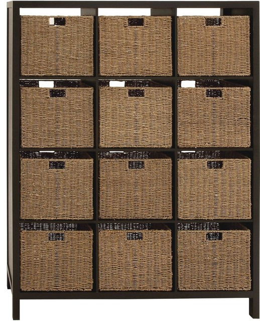 The Sleek Wood Wicker Basket Chest modern-storage-units-and-cabinets