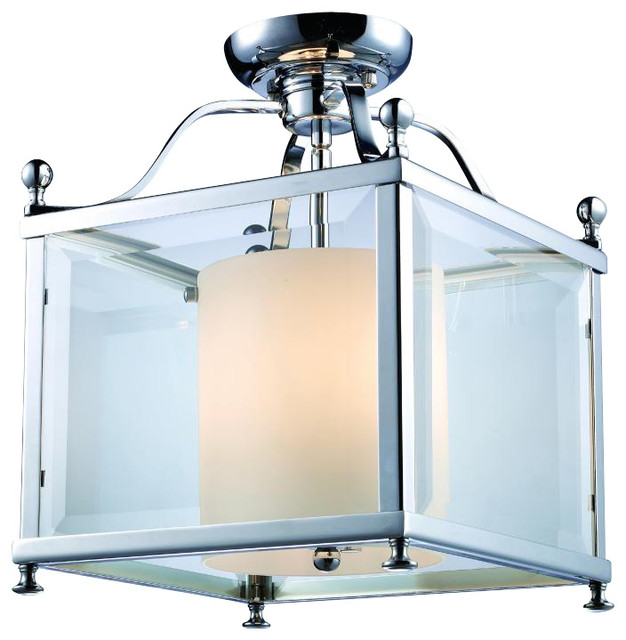 Foyer Semi Flush Mount Lighting : Three light chrome foyer hall semi flush mount