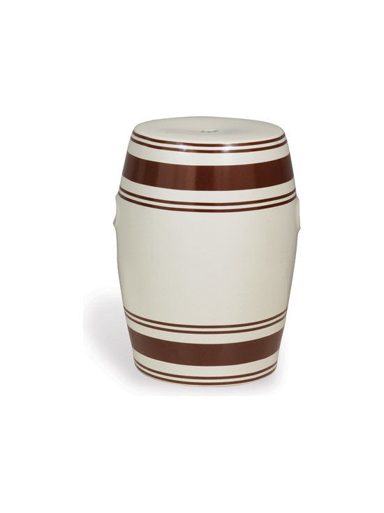 Ridgewood Brown Garden Stool - This season's hottest trend is the garden stool, and when you take a timelessly chic stripe design, it takes your room to a whole other level! Use in the garden as a stool or inside beside a upholstered chair to make this porcelain stool becomes an instant classic.