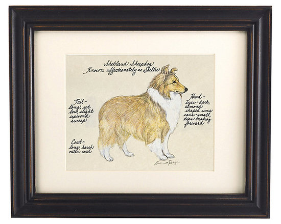 """Ballard Designs - Shetland Sheep Dog Print - Hand colored & signed. Printed on parchment. Eggshell mat. Antique black frame. Our Shetland Sheep Dog Print was created by the dog-loving, husband and wife team of Vivienne and Sponge. The Shetland Sheep Dog is known affectionately as the """"Sheltie."""" Each Shetland Sheep Dog portrait is hand colored and embellished with notes on the breed's special characteristics. Printed on antiqued parchment, signed by the artists and framed in antique black wood with eggshell mat and glass front. Shetland Sheep Dog Print features:. . . . *Please note that personalized items are non-returnable."""