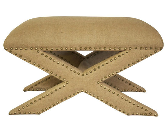 """Noir - Noir Edu Ottoman - Featuring natural, simple and classic designs, Noir products supply a timeless complement to a variety of interiors. Criss-cross legs detailed with round nailhead trim provide contemporized relevance to the rectangular Edu Ottoman. Upholstered in rich burlap, this foot stool bestows chic warmth upon living rooms and family rooms.  30""""W x 18""""D x 18""""H."""