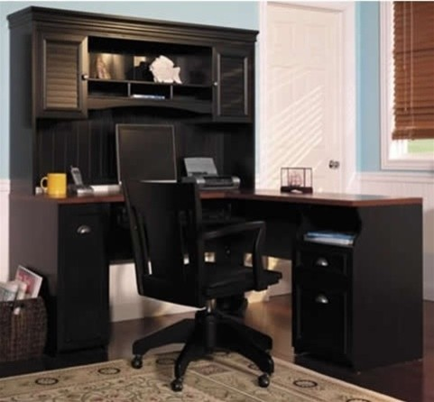 shaped black antique desk with included hutch modern desks and hutches