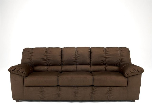 Contemporary Couch in Mocha Fabric Upholstery contemporary-sofas